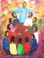 Jésus ressuscité et disciples
