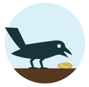 Oiseau qui mange une graine