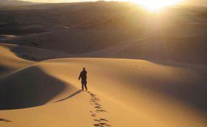 Personne qui marche dans le désert